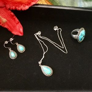 Simulated turquoise and Sterling Silver set